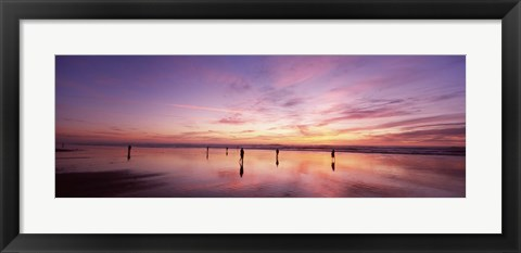 Framed Group of people watching the sunset, San Francisco, California, USA Print