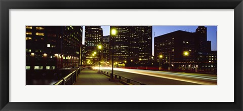 Framed Traffic on a bridge in a city, Northern Avenue Bridge, Boston, Suffolk County, Massachusetts, USA Print