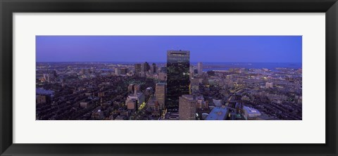 Framed Aerial View of Boston at Night Print