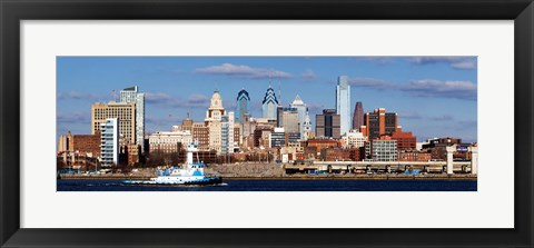 Framed Buildings at the waterfront, Delaware River, Philadelphia, Pennsylvania Print