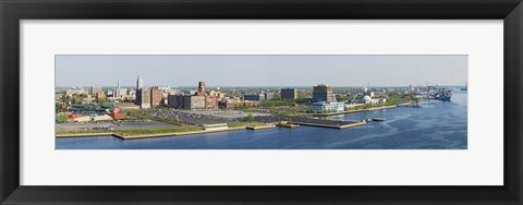 Framed Buildings at the waterfront, Adventure Aquarium, Delaware River, Camden, Camden County, New Jersey, USA Print