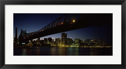 Framed Queensboro Bridge Over East River, Manhattan (night) Print