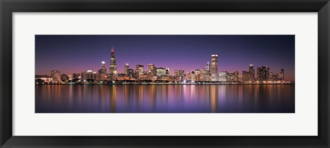 Framed Reflection of skyscrapers in a lake, Lake Michigan, Digital Composite, Chicago, Cook County, Illinois, USA Print