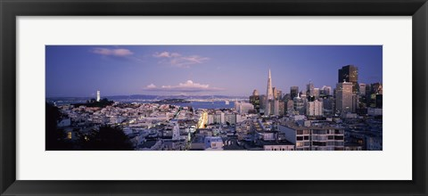 Framed High angle view of a cityscape from Nob Hill, San Francisco, California Print