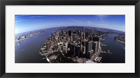 Framed Aerial view of a city, New York City, New York State, USA Print