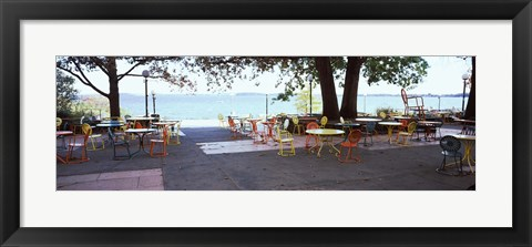 Framed Empty chairs with tables in a campus, University of Wisconsin, Madison, Dane County, Wisconsin, USA Print
