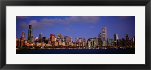 Framed Lake Michigan City Skyline at Dusk, Chicago, Illinois, USA Print