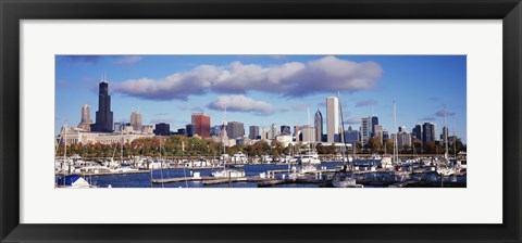Framed Boats docked at Burnham Harbor, Chicago, Illinois, USA Print