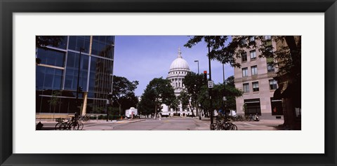 Framed Government building in a city, Wisconsin State Capitol, Madison, Wisconsin, USA Print