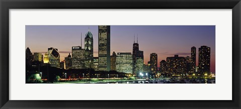 Framed Buildings lit up at dusk, Lake Michigan, Chicago, Cook County, Illinois, USA Print