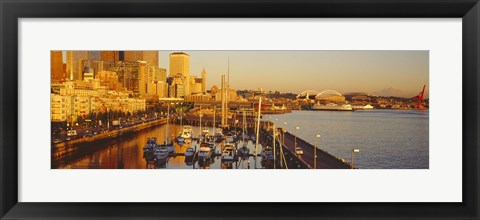 Framed Buildings at the waterfront, Elliott Bay, Bell Harbor Marina, Seattle, King County, Washington State, USA Print