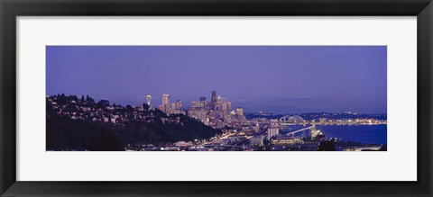 Framed City skyline at dusk, Seattle, King County, Washington State, USA Print