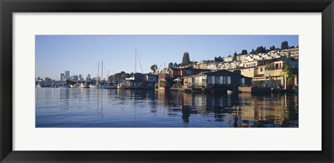 Framed Houseboats in a lake, Lake Union, Seattle, King County, Washington State, USA Print