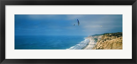 Framed Paragliders over the coast, La Jolla, San Diego, California, USA Print