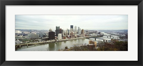 Framed High angle view of a city, Pittsburgh, Allegheny County, Pennsylvania, USA Print