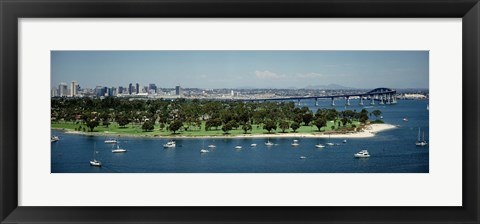 Framed Bridge across a bay, Coronado Bridge, San Diego, California, USA Print