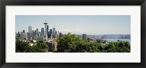 Framed Skyscrapers in a city, Space Needle, Seattle, Washington State, USA Print