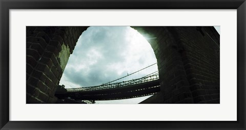 Framed Low angle view of a bridge, Brooklyn Bridge, Brooklyn, New York City, New York State, USA Print