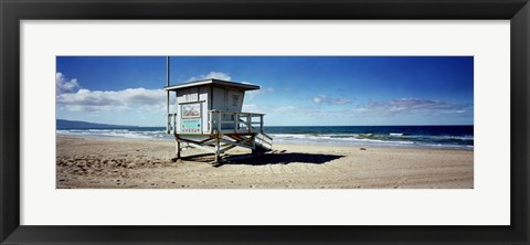 Framed Lifeguard hut on the beach, 8th Street Lifeguard Station, Manhattan Beach, Los Angeles County, California, USA Print