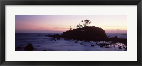Framed Lighthouse on a hill, Battery Point Lighthouse circa 1856, Battery Point Lighthouse Park, Crescent City, California, USA Print