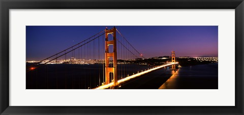 Framed Golden Gate Bridge Lit Up at Dusk, San Francisco Print