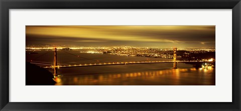 Framed Golden Gate Bridge and San Francisco Skyline Lit Up at Night Print