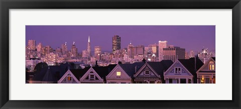 Framed Skyscrapers lit up at night in a city, San Francisco, California, USA Print