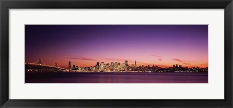 Framed Bay Bridge and San Francisco Skyline with Purple Dusk Sky Print