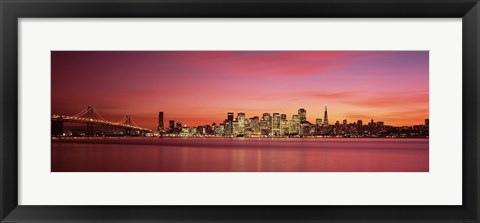 Framed Bay Bridge and San Francisco Skyline at Dusk (pink sky) Print