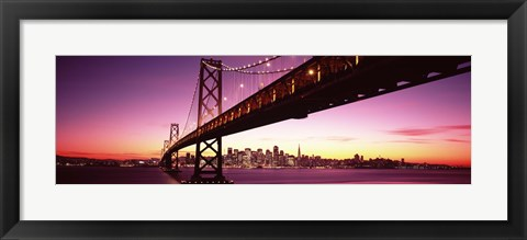 Framed Bay Bridge and city skyline at night, San Francisco, California, USA Print
