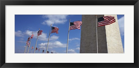 Framed American flags in front of an obelisk, Washington Monument, Washington DC, USA Print