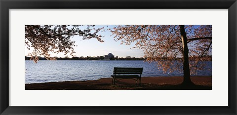 Framed Park bench with a memorial in the background, Jefferson Memorial, Tidal Basin, Potomac River, Washington DC, USA Print