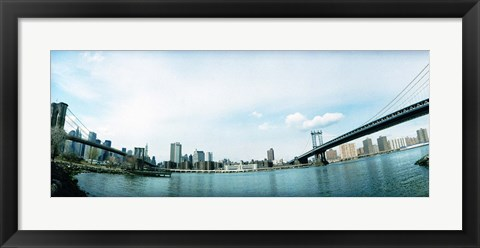 Framed Two bridges across a river, Brooklyn bridge, Manhattan Bridge, East River, Brooklyn, New York City, New York State, USA Print