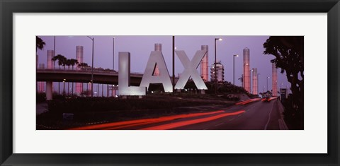 Framed Airport at dusk, Los Angeles International Airport, Los Angeles, Los Angeles County, California, USA Print