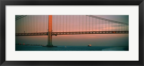 Framed Bridge across the river, Verrazano-Narrows Bridge, New York Harbor, New York City, New York State, USA Print