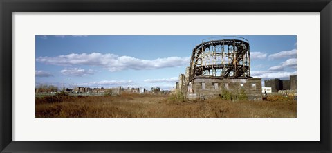 Framed Abandoned rollercoaster in an amusement park, Coney Island, Brooklyn, New York City, New York State, USA Print