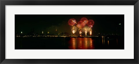 Framed Fireworks display at night on Independence Day, New York City, New York State, USA Print