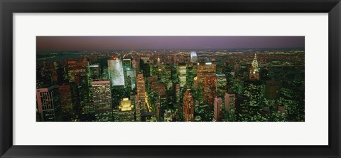 Framed Skyscrapers at night, New York City, New York State, USA Print