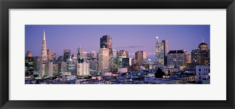 Framed High angle view of San Francisco at dusk, California Print