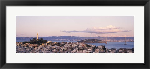 Framed High angle view of a city, Coit Tower, Telegraph Hill, San Francisco, California Print