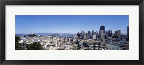 Framed High angle view of a city, Coit Tower, Telegraph Hill, Bay Bridge, San Francisco, California, USA Print