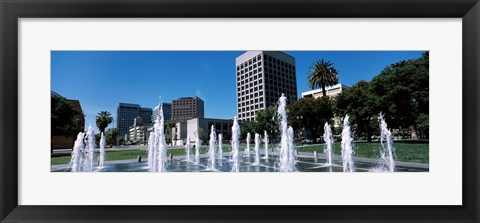 Framed Plaza De Cesar Chavez with Water Fountains, San Jose, California Print