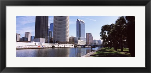 Framed Buildings viewed from the riverside, Hillsborough River, University Of Tampa, Tampa, Hillsborough County, Florida, USA Print