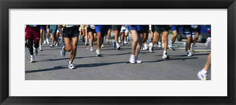 Framed Low section view of people running in a marathon, Chicago Marathon, Chicago, Illinois Print