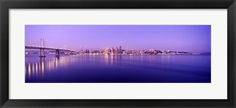 Framed Bay Bridge with a lit up city skyline in the background, San Francisco, California, USA Print
