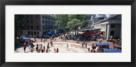 Framed Tourists in a market, Faneuil Hall Marketplace, Quincy Market, Boston, Suffolk County, Massachusetts, USA Print