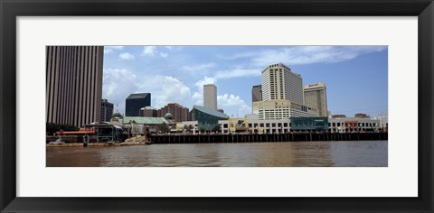 Framed Buildings viewed from the deck of a ferry, New Orleans, Louisiana, USA Print