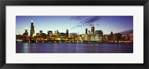 Framed Buildings at the waterfront, Lake Michigan, Chicago, Cook County, Illinois, USA Print