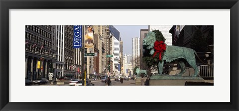 Framed Bronze lion statue in front of a museum, Art Institute Of Chicago, Chicago, Cook County, Illinois, USA Print