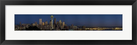 Framed Skyscrapers in a city, Space Needle, Seattle, King County, Washington State, USA Print
